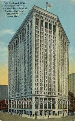 First National Bank New Building - Detroit, Michigan MI Postcard
