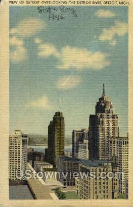 View of Detroit overlooking River - Michigan MI Postcard