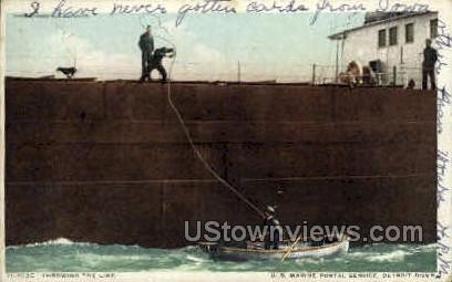 U. S. Marine Postal, Detroit River - Michigan MI Postcard