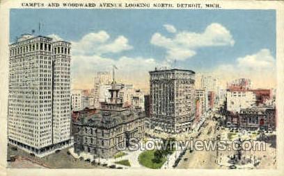 Campus and Woodward Avenue - Detroit, Michigan MI Postcard