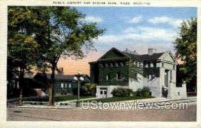 Public Library and Eagles Club - Niles, Michigan MI Postcard