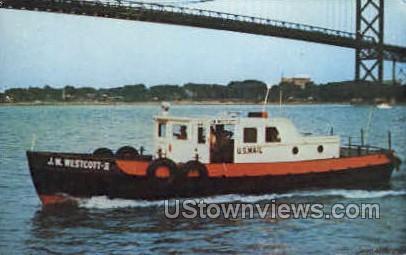 J. W. Westcott II- Mail Boat - Detroit, Michigan MI Postcard