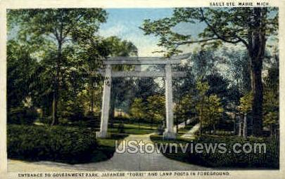 Entrance to Government Park - Sault Ste Marie, Michigan MI Postcard