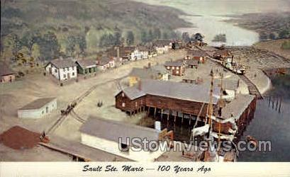 100 years ago - Sault Ste Marie, Michigan MI Postcard