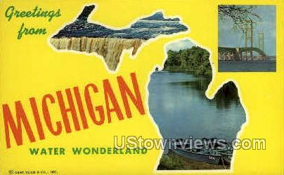 Greetings from Water Wonderland - MIsc, Michigan MI Postcard