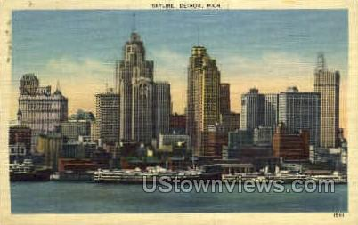 Skyline of Detroit - Michigan MI Postcard