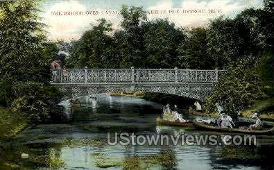 The Bridge over Canal - Detroit, Michigan MI Postcard
