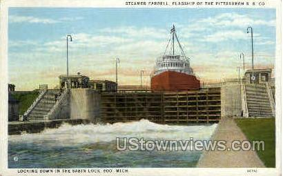 Steamer Farrel - Sault Ste Marie, Michigan MI Postcard