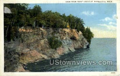 View From Point Lookout - Marquette, Michigan MI Postcard