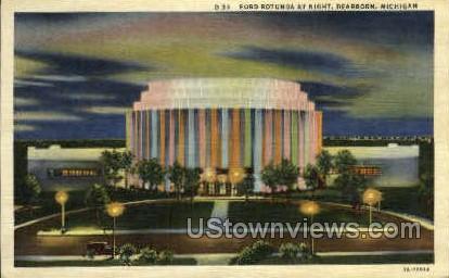Ford Rotunda at Night - Dearborn, Michigan MI Postcard
