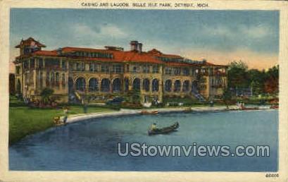 Casino and Lagoon - Detroit, Michigan MI Postcard