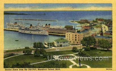 Harbor Scene - Mackinac Island, Michigan MI Postcard