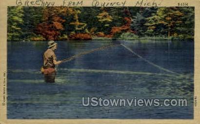 Fishing Scene - MIsc, Michigan MI Postcard