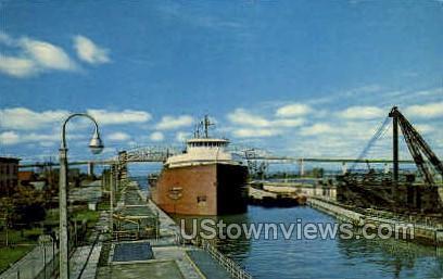 The American Soo Locks - Sault Ste Marie, Michigan MI Postcard