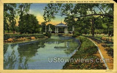 Ornamental Bridge - Detroit, Michigan MI Postcard
