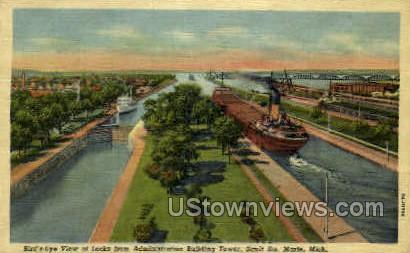 Bird's Eye View of Locks - Sault Ste Marie, Michigan MI Postcard