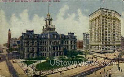 City Hall and Majestic Building - Detroit, Michigan MI Postcard