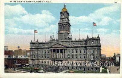 Wayne County Bldg. - Detroit, Michigan MI Postcard