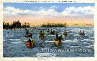 Indians Fishing in Rapids - Sault Ste Marie, Michigan MI Postcard