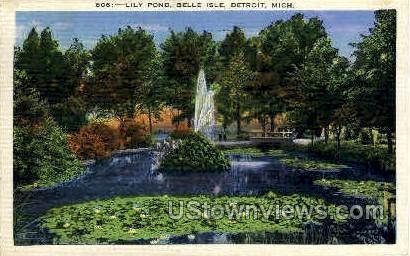 Lily Pond   - Detroit, Michigan MI Postcard