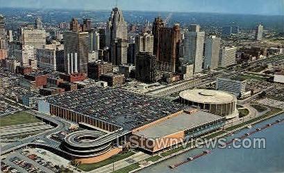 Civic Center & Skyline - Detroit, Michigan MI Postcard
