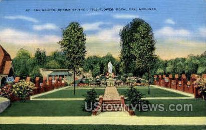 The Grotto, Shrine of the Little Flower - Royal Oak, Michigan MI Postcard