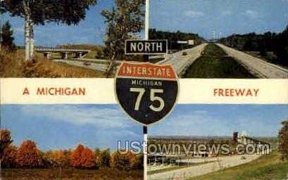 Freeway - MIsc, Michigan MI Postcard