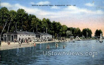 Shiras Swimming Pool - Marquette, Michigan MI Postcard