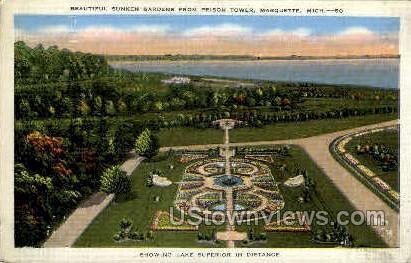 Sunken Gardens  - Marquette, Michigan MI Postcard