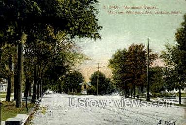 Monument Square - Jackson, Michigan MI Postcard