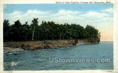 Shore of Lake Superior - Marquette, Michigan MI Postcard