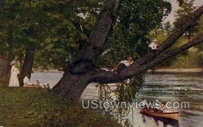 Fishing & Camping - Joseph River, Michigan MI Postcard