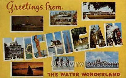 Greetings From - MIsc, Michigan MI Postcard