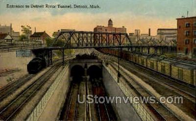 Detroit River Tunnel - Michigan MI Postcard