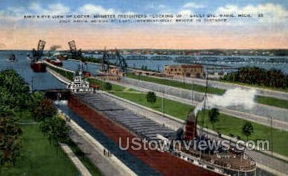 Freighter Locking Up - Sault Ste Marie, Michigan MI Postcard