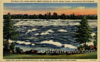 The Sault Ste. Marie Rapids - Sault Ste Marie, Michigan MI Postcard