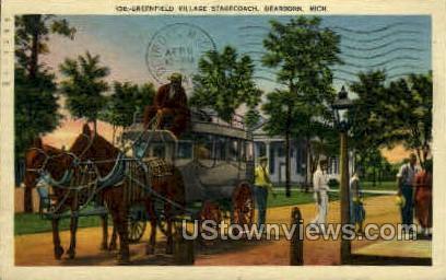 Greenfield Village Stagecoach - Dearborn, Michigan MI Postcard