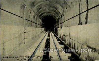 Interior of the Detroit River Tunnel - Michigan MI Postcard