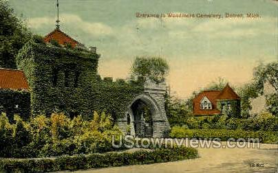 Entrance to Woodmere Cemetery - Detroit, Michigan MI Postcard