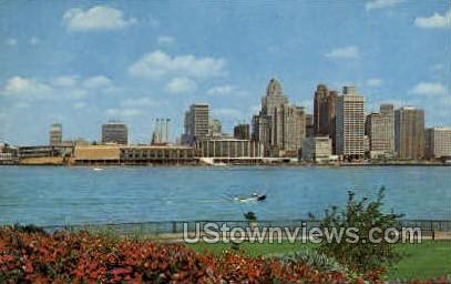 Detroit River Skyline - Michigan MI Postcard