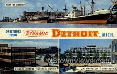 Greetings From - Detroit, Michigan MI Postcard