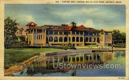 Casino & Lagoon - Detroit, Michigan MI Postcard