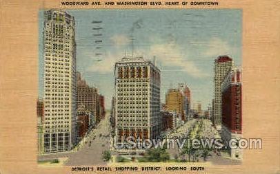 Shopping District - Detroit, Michigan MI Postcard