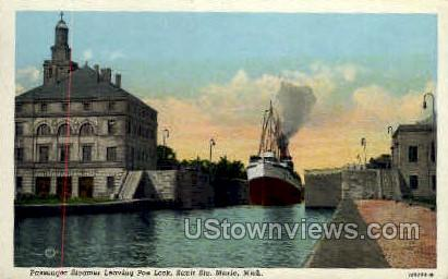 Passenger Steamer, Poe Lock - Sault Ste Marie, Michigan MI Postcard