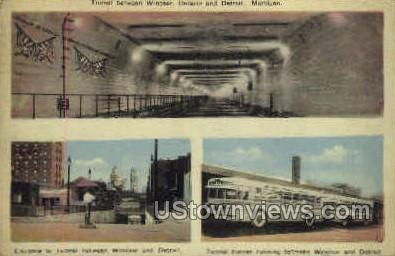 Tunnel Between Ontario & Detroit - Michigan MI Postcard