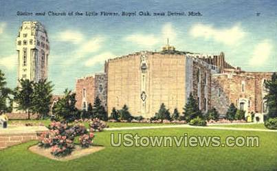Shrine & Church of the Little Flower - Royal Oak, Michigan MI Postcard