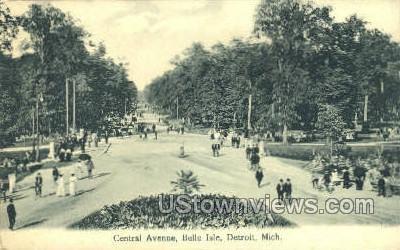 Central Ave., Belle Isle - Detroit, Michigan MI Postcard