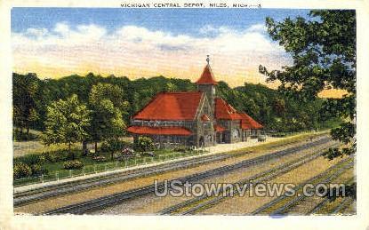 Michigan Central Depot - Niles Postcard