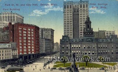 Fort St. W & City Hall - Detroit, Michigan MI Postcard