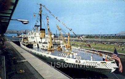 The Soo Locks - Sault Ste Marie, Michigan MI Postcard